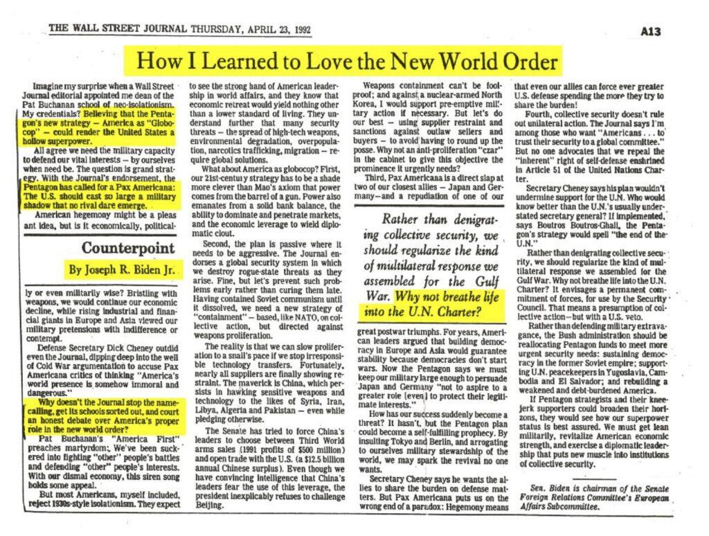 Joe Biden Pledges Allegiance to the New World Order In 1992 Article