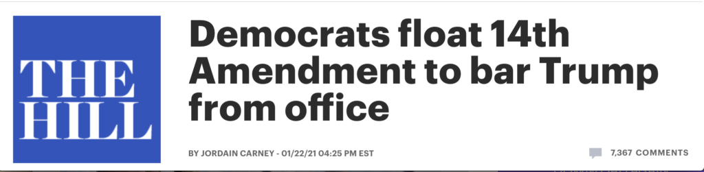 image-1024x251 Democrats Discuss Using 14th Amendment To Stop Trump From Running For Office Again If Impeachment Fails Featured Politics Top Stories [your]NEWS