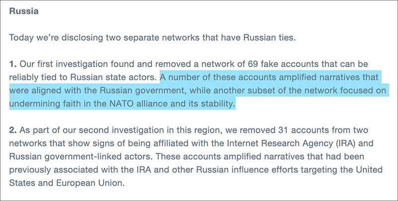 """Twitter Removes Accounts that """"Undermine Faith in NATO"""""""