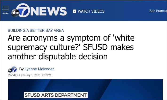 "School District Cancels Acronym, Calls It ""Symptom of White Supremacy"""