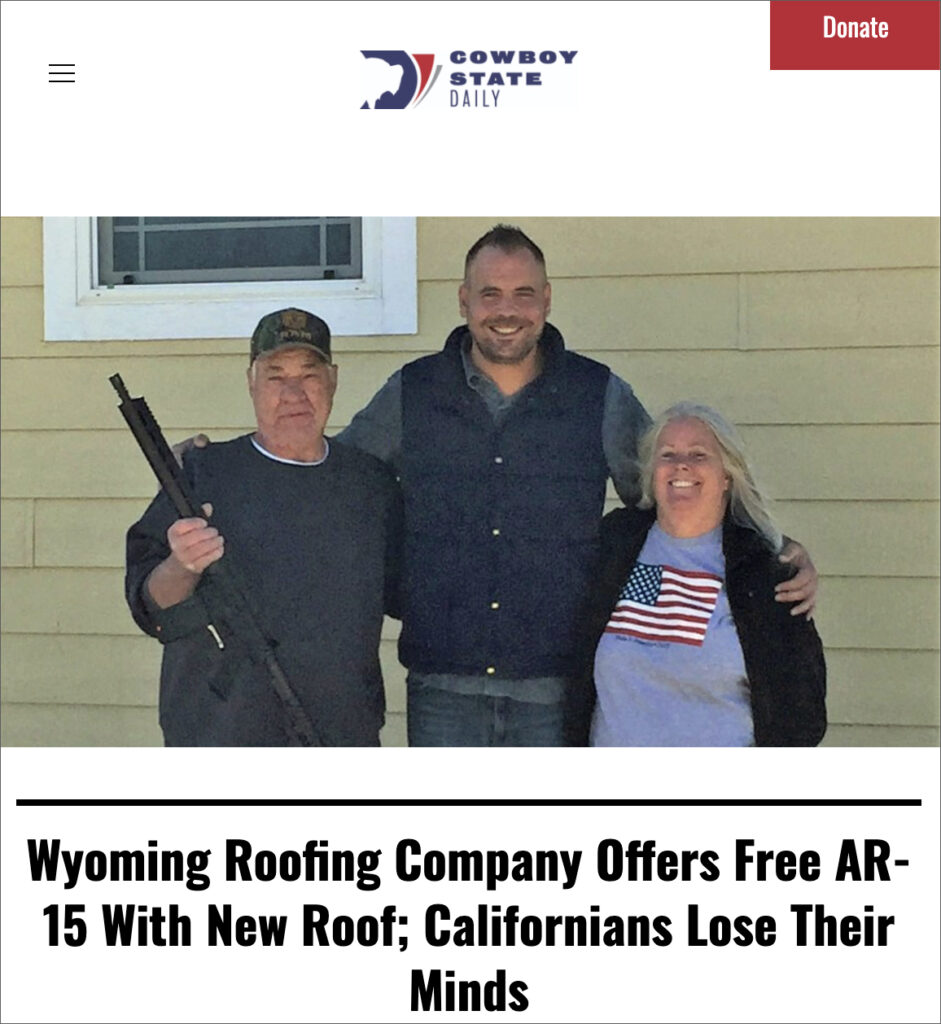 Roofing Company Offers Free AR-15 With New Roof — Leftists Go Berserk