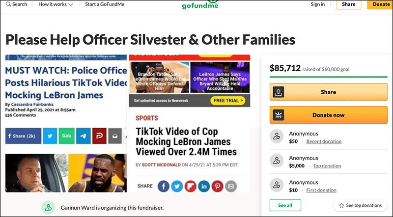 Over K Raised For Cop Suspended Over Viral TikTok Mocking Lebron James