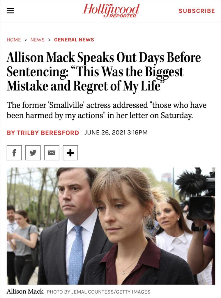 NXIVM Acolyte Allison Mack Speaks Out