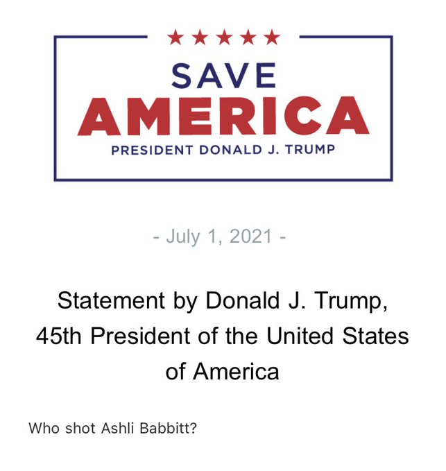 "Trump chiede: ""Chi ha ucciso Ashli Babbitt?"