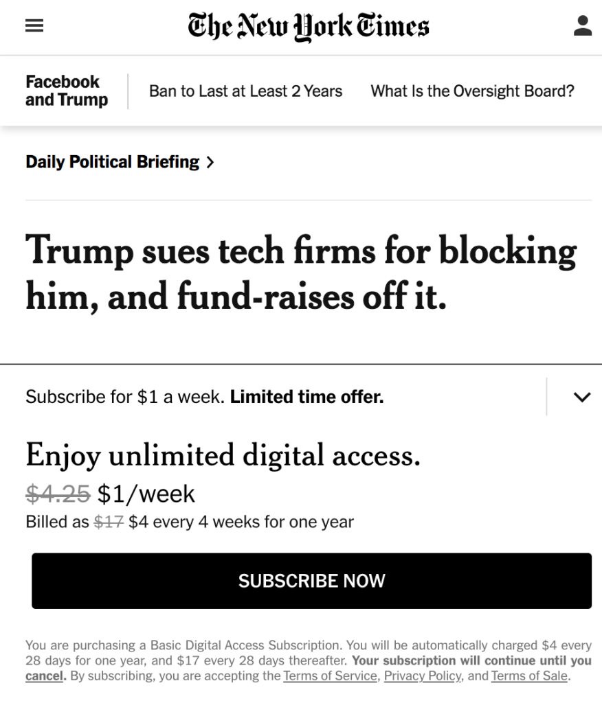 NYT Fundraises Off of Criticism That Trump Fundraises