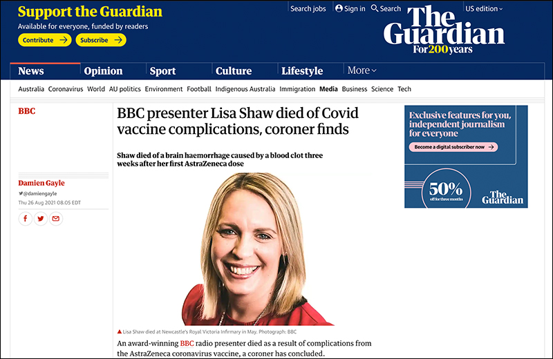 Coroner Rules BBC Presenter's Death From Blood Clots Directly Linked to Vaccine Shaw2